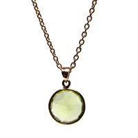 Puck Wanderlust Gold August Birthday Charm Necklace Peridot Gold Green