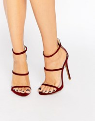 Public Desire Sparra Strappy Burgundy Heeled Sandals Bordo Suede Red