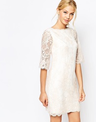 Ted Baker Laavia Wide Sleeve Dress In Lace Cream