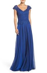 La Femme Women's Embellished Lace And Chiffon Gown
