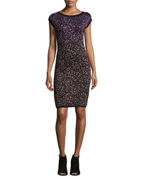 M Missoni Cap Sleeve Round Neck Sheath Dress Black