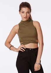 Missguided High Neck Crop Top With Bandage Waist Khaki