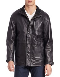 Boston Harbour Long Leather Jacket Black