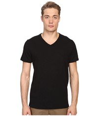 Vince Short Sleeve Slub V Neck Shirt Black Men's Short Sleeve Pullover