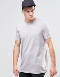 Asos Longline T Shirt With Crew Neck In Pale Purple Pale Lilac