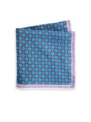 Saks Fifth Avenue Xo Silk Pocket Square Red White Grey Teal