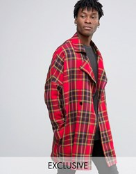 Reclaimed Vintage Oversized Cocoon Coat Red