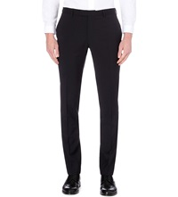 Sandro Slim Fit Tapered Wool Trousers Navy Blue