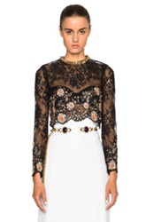 Alessandra Rich Chantilly Lace Top In Black Floral