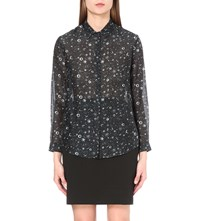 The Kooples Tattoo Print Silk Shirt Ecru Black