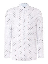 Peter Werth Doyle Pattern Slim Fit Long Sleeve Button Down Sh Duck Egg