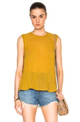 Enza Costa Sleeveless Trapeze Top In Green Yellow
