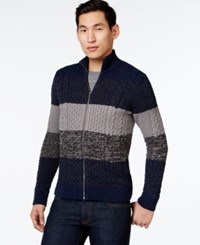 Inc International Concepts Mock Neck Colorblock Stripe Cardigan Sweater Only At Macy's Basic Navy
