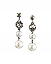 Lydell Nyc Hematite And Simulated Pearl Drop Earrings Multi