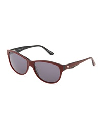 Thierry Mugler Red And Black Acetate Rounded Sunglasses