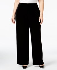 Alfani Plus Size Velvet Wide Leg Pants Only At Macy's Deep Black