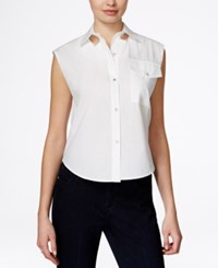 Rachel Rachel Roy Cap Sleeve Cutout Shirt White