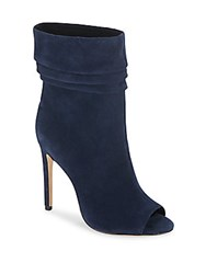 Halston Ruched Suede Open Toe Booties Navy