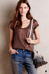 Anthropologie Shimmered Linen Tee Chocolate
