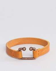 Hugo Boss Orange Morris Leather Bracelet In Tan Tan