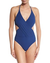 Tory Burch Solid Wrap Front One Piece Swimsuit Capri Blue