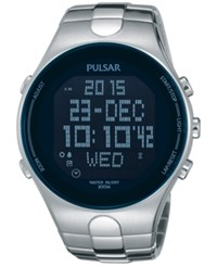 Pulsar Men's Digital Chronograph On The Go Stainless Steel Bracelet Watch 45Mm Pq2053