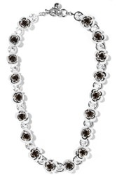 Shourouk Silver Tone Paillette And Crystal Necklace