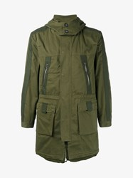 Lot 78 Cotton Hooded Parka Jacket Green Army Green Black
