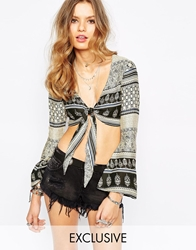 Spiritual Hippie Tie Front Crop Top With All Over Paisley Print Beige