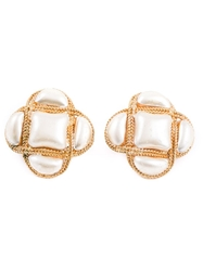 Chanel Vintage Faux Pearl Clip On Earrings White