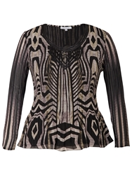 Chesca Snake Print Top Beige