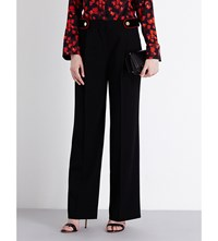 Givenchy Velvet Detail Wide High Rise Wool Trousers Blk