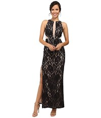 Aidan Mattox Long Stretch Lace Halter Gown W Illusion Detail Black Nude Women's Dress Multi