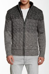 Weatherproof Ombre Cable Full Zip Faux Fur Lined Sweater Gray