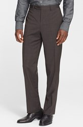 Men's Canali Flat Front Wool Trousers Brown