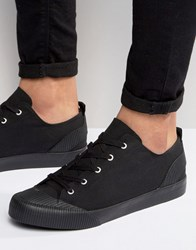 Asos Lace Up Plimsolls In Black With Rubber Detailing Black