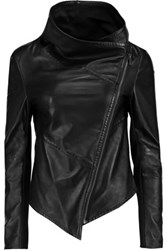 Muubaa Sabina Draped Leather Jacket Black