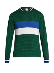 Paul Smith Zip Through Striped Wool And Silk Blend Sweater Green Multi