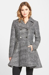 Laundry By Shelli Segal Chevron Twill Double Breasted Skirted Coat Online Only Black Grey