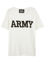 Nlst Off White And Black Army Print T Shirt Cream