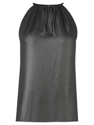 Warehouse Metallic Halter Neck Top Silver