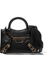 Balenciaga City Mini Textured Leather Shoulder Bag Black