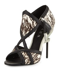L.A.M.B. Excite Printed Calf Hair Sandal Gray Black