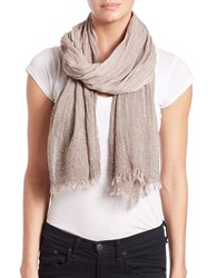 Lord And Taylor Tonal Jeweled Scarf Taupe