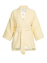 Hillier Bartley Waffle Texture Belted Kimono Jacket Cream