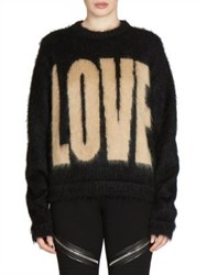Givenchy Mohair Love Crewneck Sweater Black Light Brown