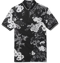 Dolce And Gabbana Slim Fit Floral Print Cotton Pique Polo Shirt Black
