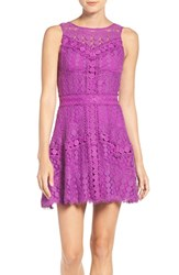 Adelyn Rae Women's Lace Fit And Flare Dress Purple
