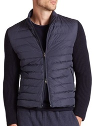 Eleventy Knit Sleeve Quilted Down Jacket Navy