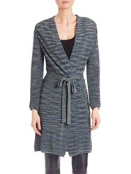 M Missoni Plisse Tie Waist Long Cardigan Teal Multi